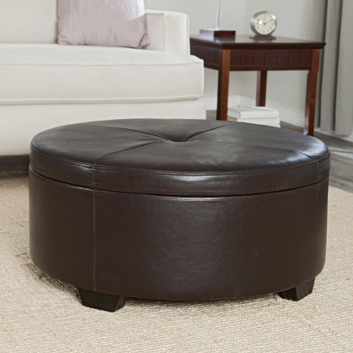 Leather Ottoman Coffee Table Elegant Leather Ottoman Coffee Table Dark Brown Leather (Image 4 of 10)