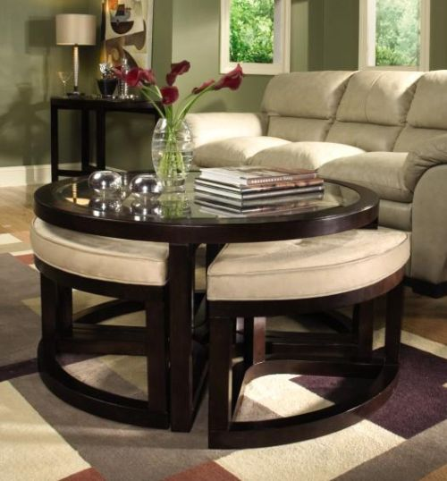 Leather Round Storage Ottoman Coffee Table Cool Round Ottoman Coffee Table For Your Home Small Spaces (Image 8 of 8)
