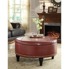 Leather Storage Ottoman Furniture Round Tray Table Coffee Living Room Wood Home Round Leather Ottoman Coffee Table (View 3 of 10)