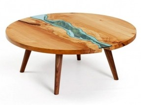 live-edge-wood-round-coffee-table-with-glass-river-playa-del-carmen-rustic-industrial-lamps-rustic-round-coffee-table (Image 3 of 10)