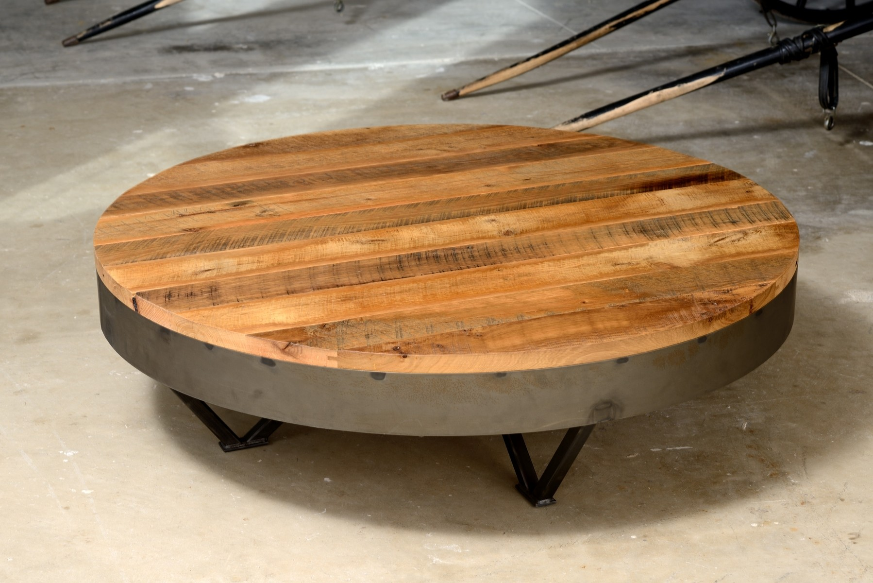 Low Round Wood Coffee Table Furniture Living Room Very Low Rustic Coffee Table With Wrought Iron Pedestal Base Round Metal And Wood Coffee Table (View 6 of 10)