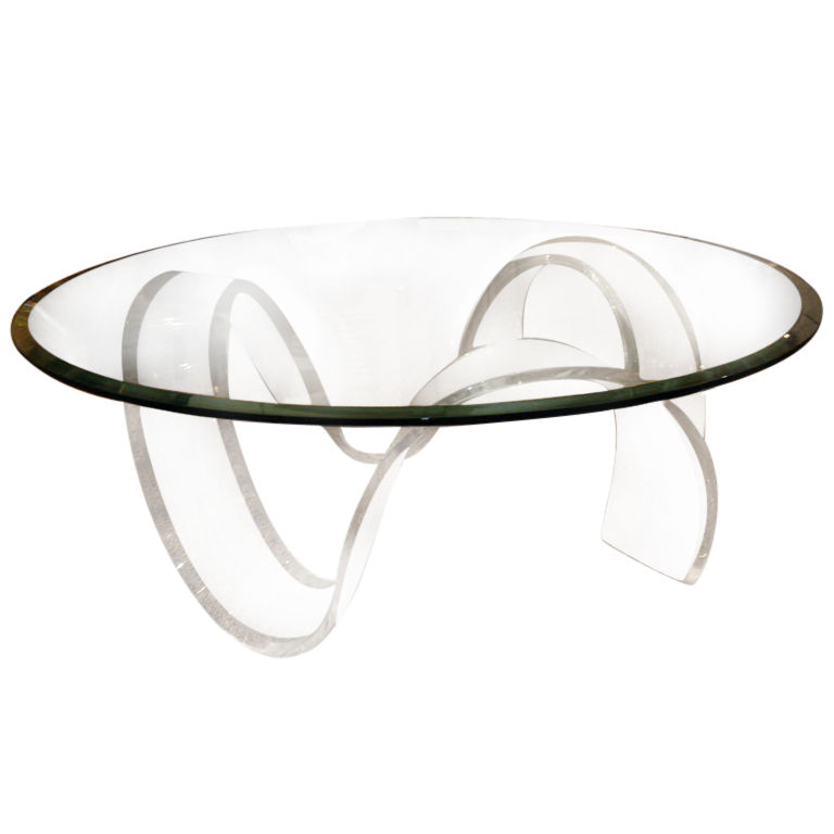 Lucite Round Ribbon Coffee Table Round Acrylic Coffee Table Acrylic Lucite Coffee Table Acrylic Coffee Tables Clear (Image 6 of 10)