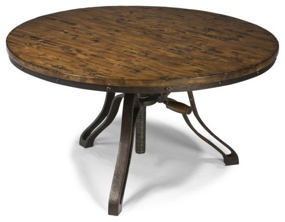 Magnussen Cranfill Aged Pine Round Adjustable Height Cocktail Table Casual Round Adjustable 24 Round Coffee Table (View 5 of 10)