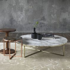 Marble Coffee Tables Round Marble Coffee Table With Brass And Copper Round Marble Coffee Tables (Image 2 of 10)
