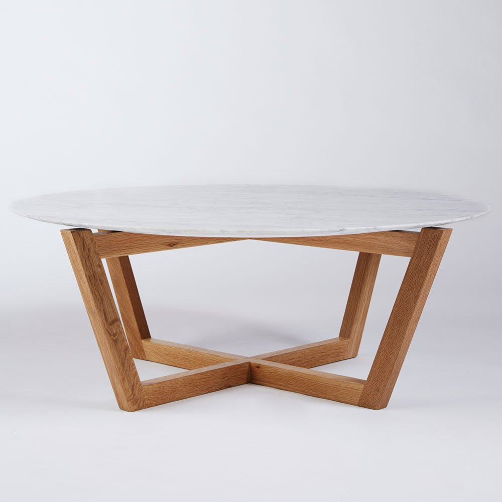 Round wood coffee table white - Marcello Round Coffee Table Italian Carrara Marble And American White Oak Round Coffee Table White