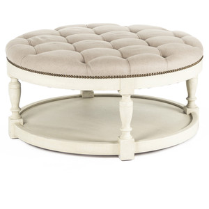 Marseille French Country Cream Ivory Linen Round Tufted Coffee Table Ottoman Round Upholstered Ottoman Coffee Table (Image 5 of 10)