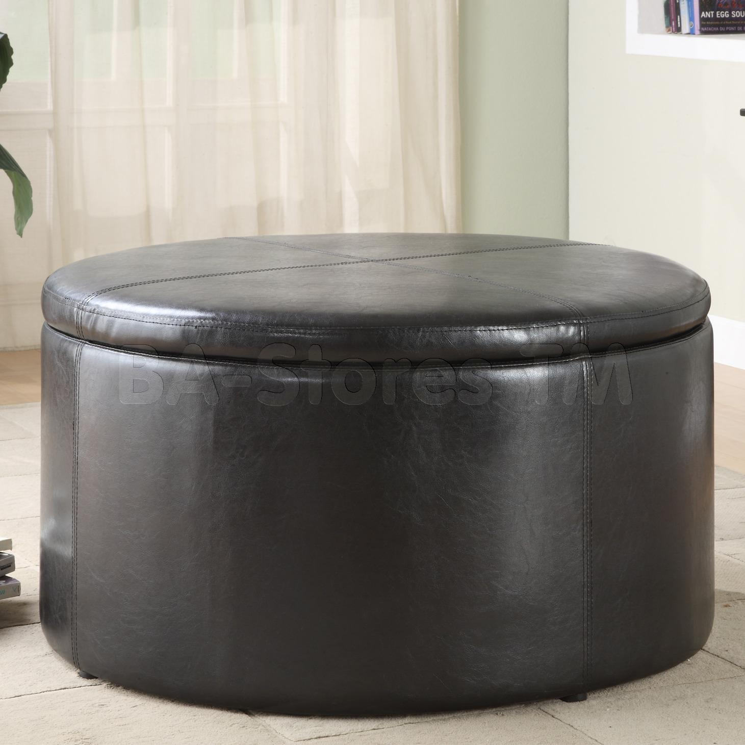 Maximizing Small Living Room Spaces Using Black Color Round Leather Ottoman Coffee Table Furniture Black Round Ottoman Coffee Table (Image 6 of 10)