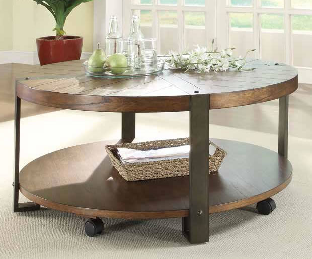 Metal And Wood Rustic Round Cocktail Table Furniture Round Coffee Table With Wheels Metal Wheels For Coffee Table (Image 4 of 10)
