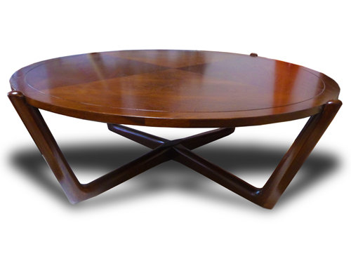 mid-century-modern-danish-walnut-low-coffee-table-round-vintage-x-shape-varnished-wooden-round-low-coffee-table (Image 5 of 10)