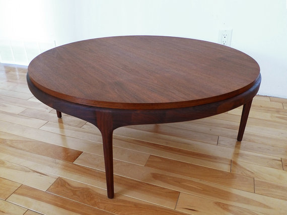 Mid Century Round Walnut Coffee Table Elegant Round Wooden Laminated Coffee Table Round Walnut Coffee Table Concord Round Coffee Table (Image 5 of 10)