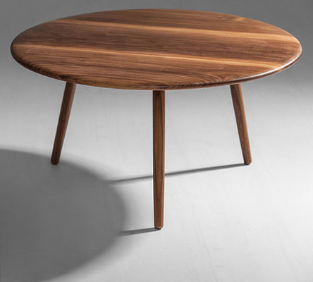 Midcentury Style Round Walnut Coffee Table By The Galvin Brothers Small Round Wood With 3 Legs Coffee Table Round Walnut Coffee Table (Image 6 of 10)