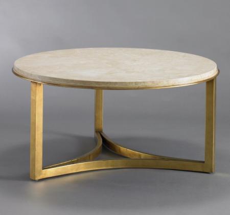 Milo Coffee Table Dwellstudio Gold Round Round Stone Coffee Table Stone Top Round Coffee Table Round Marble Coffee Table (Image 3 of 10)