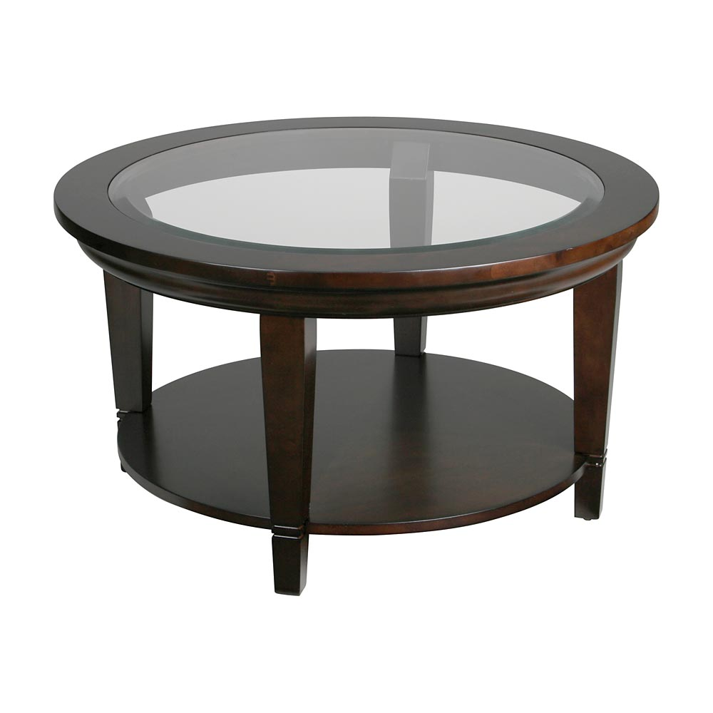 Minimalist Laminated Dark Brown Wooden Round Glass Coffee Table With Storage Design Interior Choice Of Wooden Finishes (Image 4 of 10)