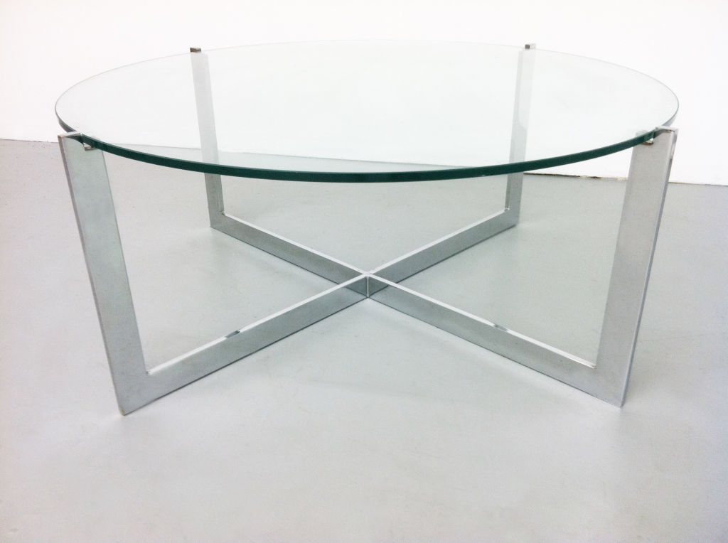 Minimalist Round Glass Coffee Table For Living Room Furniture Image 6 Of 10