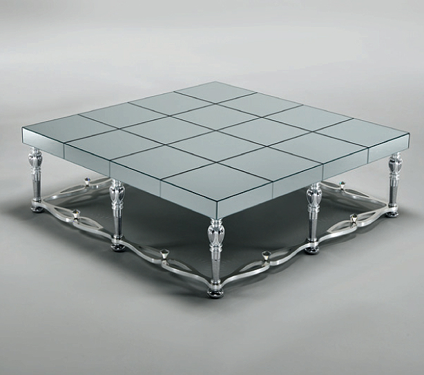 Mirror Glass Coffee Table Mosaic Mirror Glass Silver Coffee Tables Full Range In Stock Square Design Luxury (Image 2 of 9)