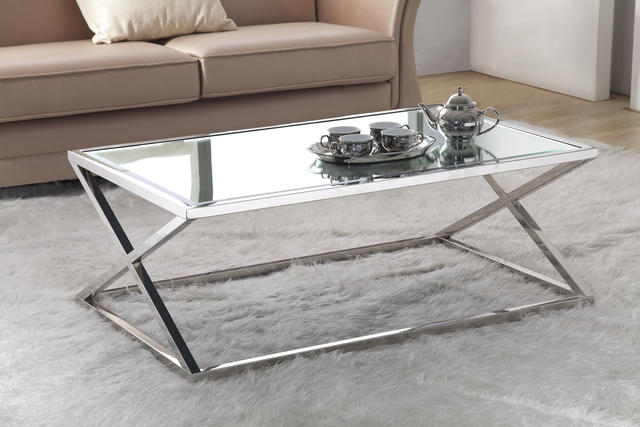 Mirror Glass Coffee Table The Designer Louis Lara Has Shaped The Piece Into A Flowing Object Bordering Between Art And Furniture Stainless Steel (Image 6 of 9)