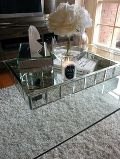 Mirror Glass Coffee Table Took Patience And Time Scouting The Shops For A Coffee Table Finally Found The Perfect Table And Decor (View 8 of 9)