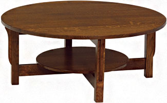 mission-prairie-round-coffee-table-with-shelf-round-mission-coffee-table-round-wooden-with-four-legs-coffee-table-furniture (Image 5 of 10)