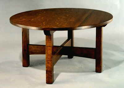 mission-round-coffee-table-arts-and-crafts-round-coffee-table-round-mission-coffee-table-small-round-wooden-lacquered-coffee-table (Image 6 of 10)
