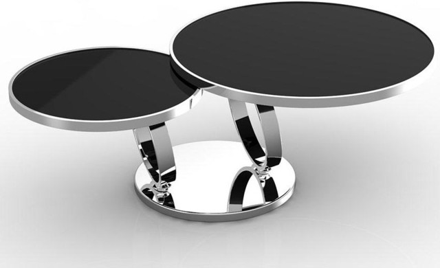 Modern Black And Chrome Coffee Table Kato Round Chrome Coffee Table Modern Coffee Table Kato Features Unusual Double Table (View 3 of 10)