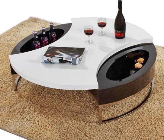 Modern Black And White Round Top Coffee Table With Storage Mino Modern Coffee Tables Round Storage Coffee Table (Image 4 of 10)