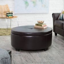 Modern Black Faux Leather Large Round Coffee Table Button Top Storage Ottoman Black Round Ottoman Coffee Table (Image 7 of 10)
