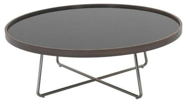 Modern Brown And Black Glass Round Coffee Table Bremen Contemporary Coffee Tables Round Black Coffee Table (Image 4 of 10)