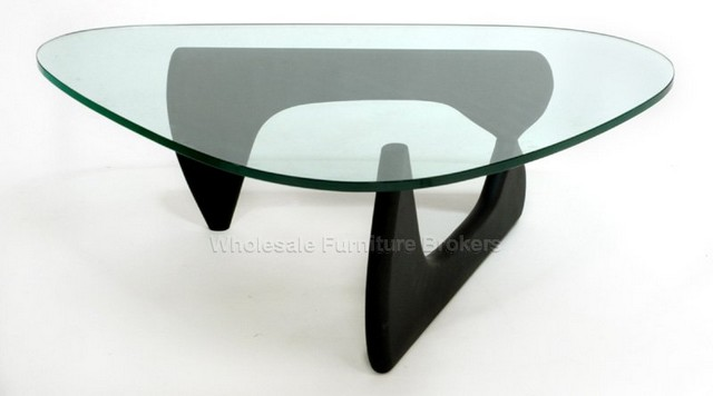 Modern Glass Top Coffee Tables The Oval Shaped Surface Of Glass Is Accented With A Polished Black Rim The Base Is O Shaped And This Table Is 20 Inches High (Image 8 of 9)