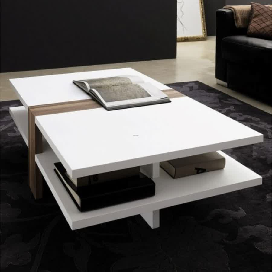 Modern Rectangular White Coffee Table With Book Storage Underneath Plus Black Area Rug Ideas Modern Wood Coffee Table Reclaimed Metal Mid Century Round Natur (Image 4 of 10)