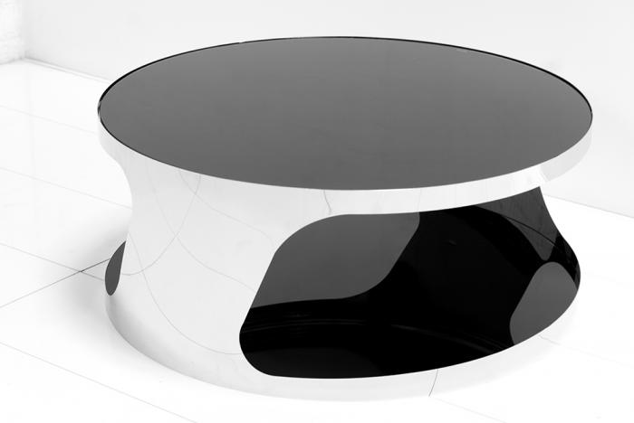 Modern Round Chrome Coffee Table Black White Luxury Round Glass Coffee Table Modern Round Coffee Tables (Image 6 of 10)