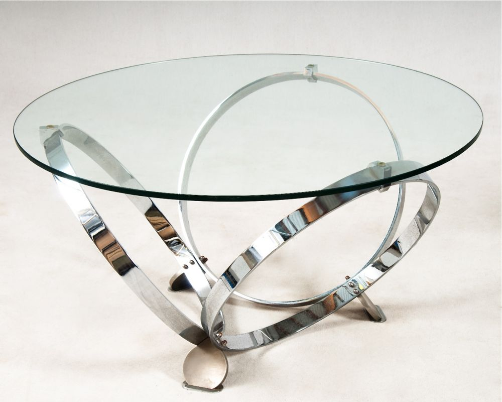 Modern Round Glass Coffee Table Chrome Ring Legs Round Chrome Coffee Table Modern Glass Chrome Coffee Table (View 7 of 10)