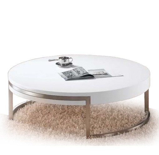 Modern Round White Coffee Table Russel Modern White Round Coffee Table Round Contemporary Coffee Tables (Image 3 of 10)