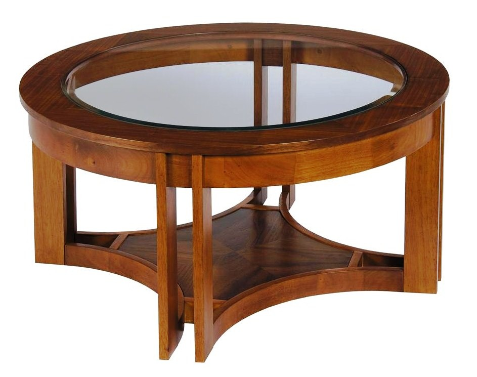 modern-solid-wood-coffee-table-round-wood-and-glass-coffee-table-elegant-brown-round-lacquered-wooden-with-top-glass-coffee-table (Image 2 of 10)