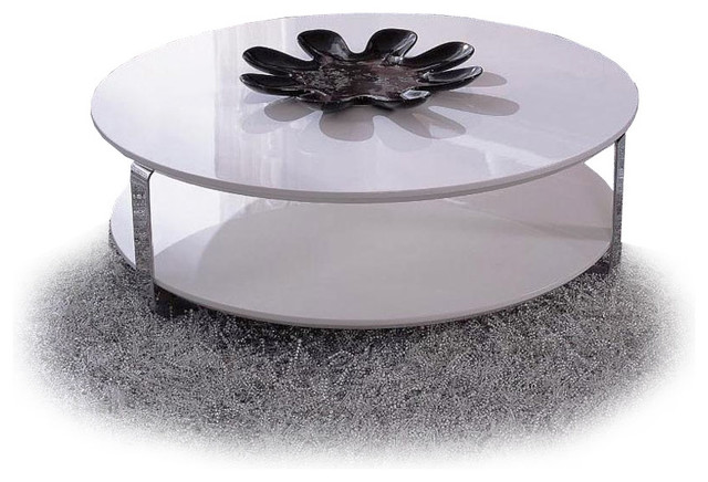 Modern White Lacquer Round Coffee Table Ono Tables