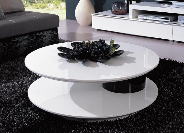 Modern White Round Coffee Table Designer Coffee Tables In Stylish Accessories Round Shaped Contemporary White And Black Coffee Table (Image 6 of 10)