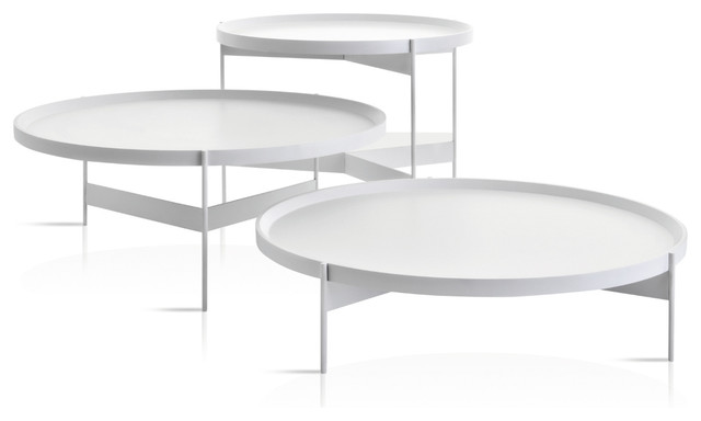Modern White Round Coffee Tables Design Furniture Pianca Abaco Modern Round Coffee Or Cocktail Table Portable Tray White (Image 2 of 10)