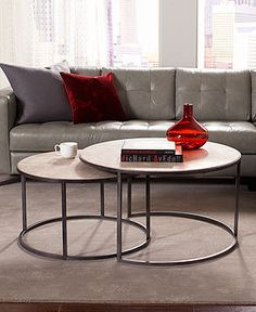 Monterey Coffee Table Round Nesting Living Room Furniture Furniture Nesting Coffee Table Round White Round Nesting Tables (Image 6 of 10)