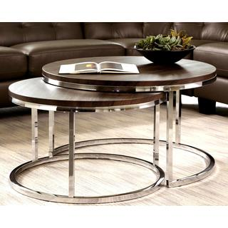 Nesting Coffee Table Round Mergot Modern Chrome 2 Piece Cocktail Round Nesting Table Set Nesting Tables Coffee Sofa And End Tab (Image 8 of 10)