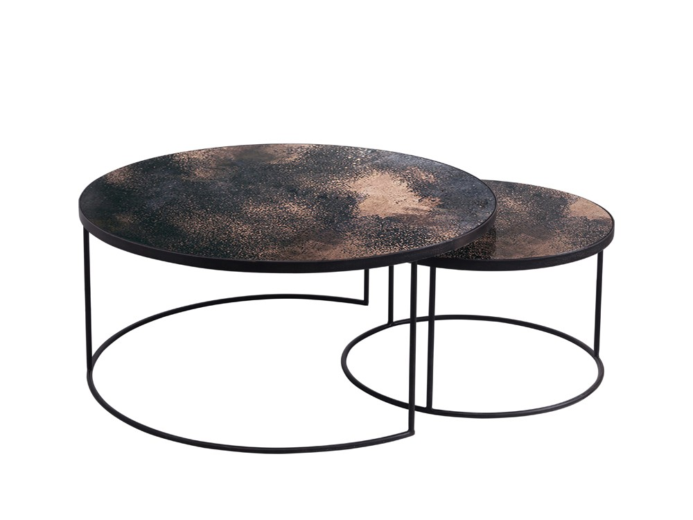 New Round Nesting Coffee Table Set Shop Nesting Coffee Table Round Steel Round Coffee Table (Image 9 of 10)