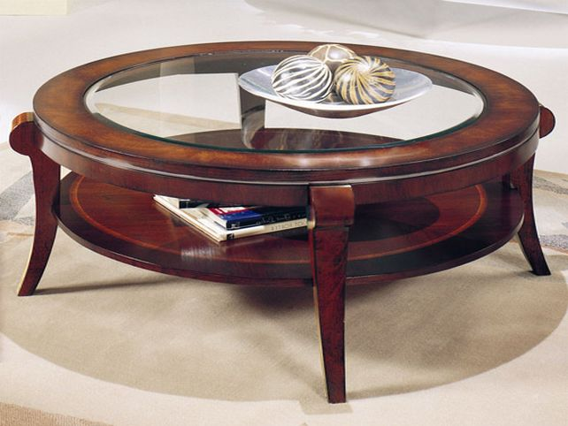 New Round Wood And Glass Coffee Table Round Wood Glass Coffee Table Glass Top Steel Base Nickel Finish Legs (View 1 of 10)
