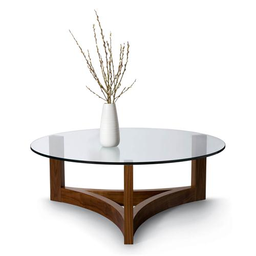 Nexus Round Cocktail Table With Glass Top Contemporary Cocktail Table From Altura Furniture Model Nx Ctg42r N Round Glass Top Coffee Table With Wood Base (Image 4 of 10)