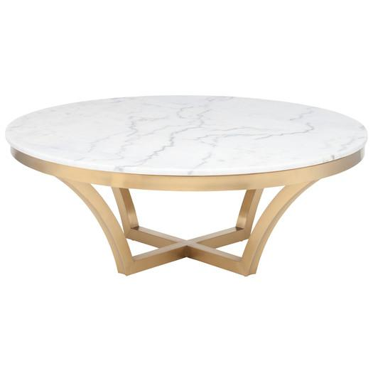 Nuevo Aurora Gold Coffee Table Nuevo Aurora Top Round Marble Coffee Table Round Marble Coffee Tables (Image 4 of 10)