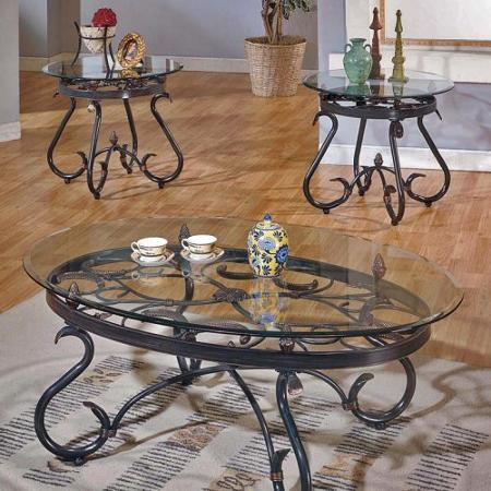 One Ouval Shape Table With Glass On Top Steve Silver Coffee Table Sets Steve Silver Lola Coffee Table Set (Image 3 of 10)