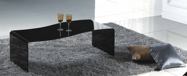 One Piece Glass Coffee Table Modern Black Glass Coffee Table Vieste Modern Coffee Table Vieste Made Of Single Piece Of Black (View 7 of 10)