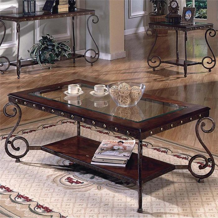 One Table With Glass On Top Steve Silver Coffee Table Sets Rectangular Coffee Table With Metal Studs (Image 4 of 10)