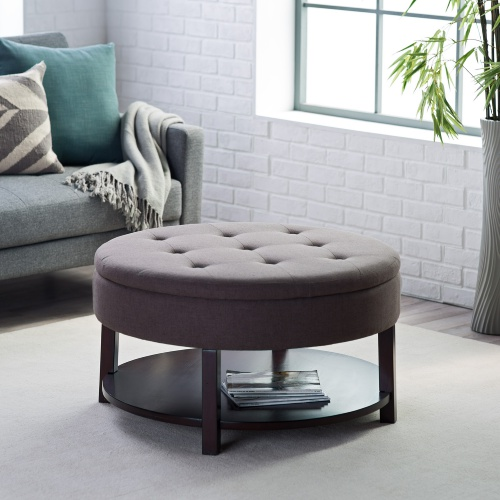 Ottoman Belham Living Dalton Coffee Table Round Tufted Storage Ottoman With Tray And Shelf Round Tufted Storage Ottoman Coffee Table (Image 4 of 10)