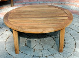 Outdoor Coffee Table Round 36inch Natural Teak Round Outdoor Patio Wooden Coffee Table Teak Outdoor Round Coffee Table (Image 6 of 10)