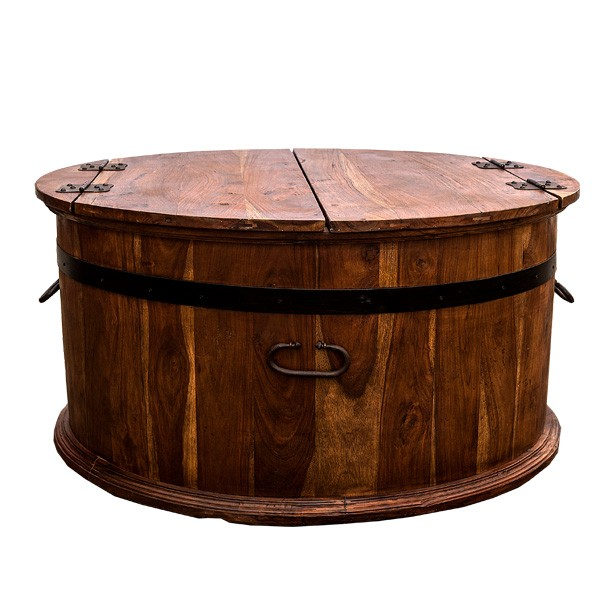 Outlet For Quality Wooden Indian And Asia Furniture Round Wooden Coffee Table With Drawers Round Coffee Table Drawers (Image 6 of 10)