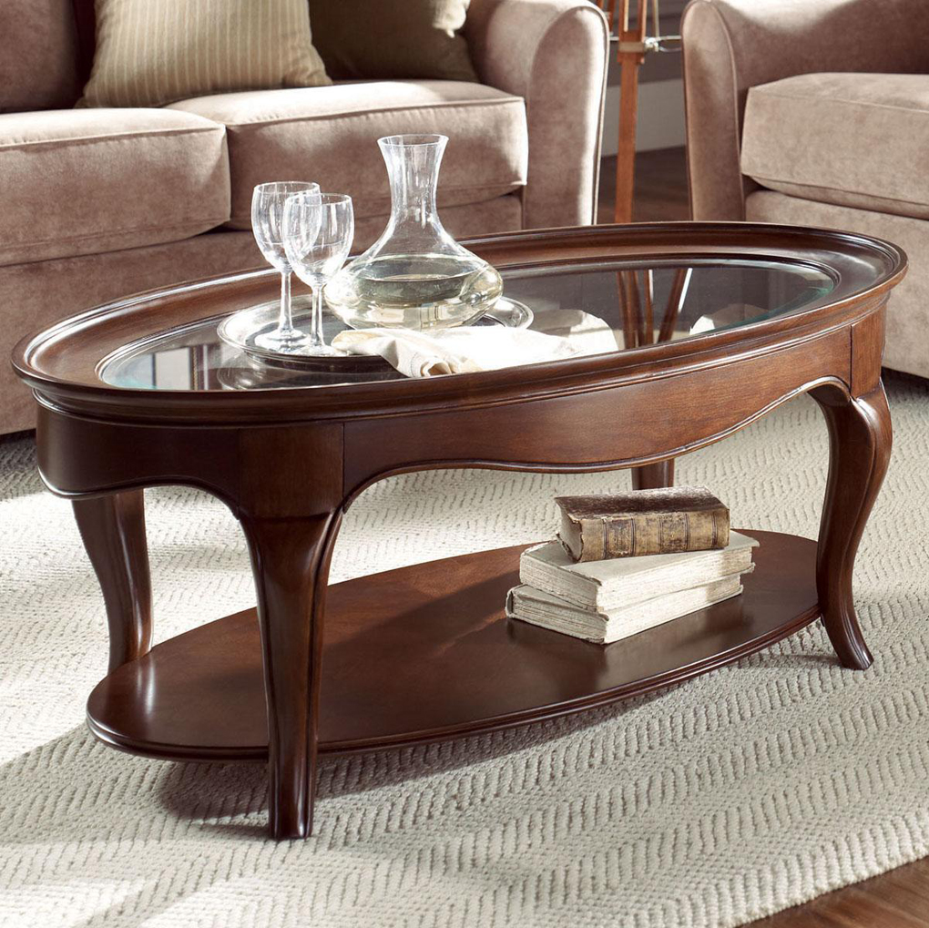 Oval Coffee Table Glass Top Then This Is The Oval Coffee Table Made Just For Your Home Wooden Oak Stained Finishing (Image 9 of 10)
