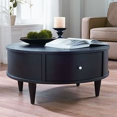 Oval Coffee Table Love How Simple This Looks But Gives Storage Too Round Storage Coffee Table Living Room End Tables With Storage (Image 5 of 10)